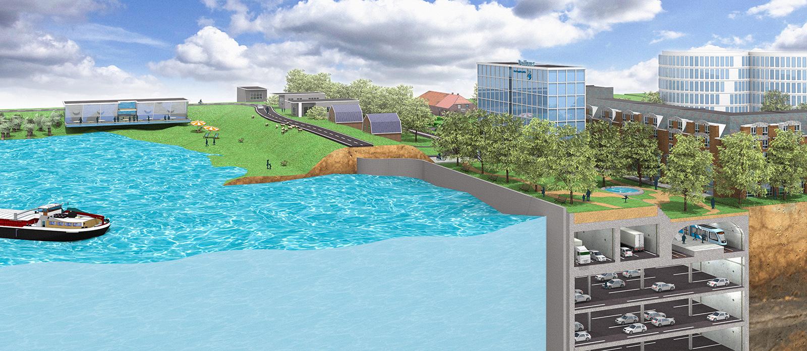 Multifunctionele dijk waterkering van de toekomst vizualism - De gevels van de huizen ...