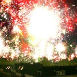 Accumulated timelapse of fireworks exploding